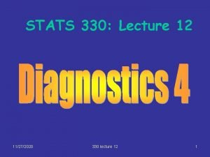 STATS 330 Lecture 12 11272020 330 lecture 12
