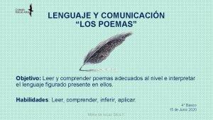 LENGUAJE Y COMUNICACIN LOS POEMAS Objetivo Leer y