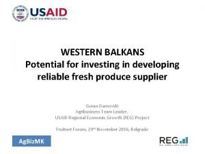 WESTERN BALKANS Potential for investing in developing reliable