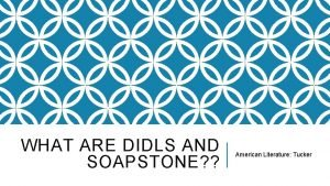 WHAT ARE DIDLS AND SOAPSTONE American Literature Tucker