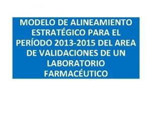 MODELO DE ALINEAMIENTO ESTRATGICO PARA EL PERODO 2013