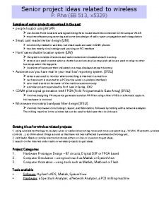 Senior project ideas related to wireless P Rha