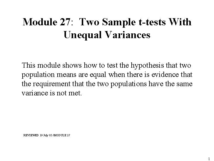 Module 27 Two Sample ttests With Unequal Variances