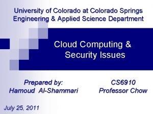 University of Colorado at Colorado Springs Engineering Applied