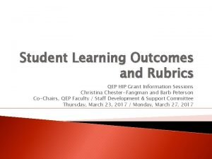 Student Learning Outcomes and Rubrics QEP HIP Grant