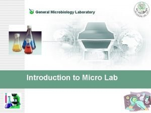 General Microbiology Laboratory Introduction to Micro Lab Welcome