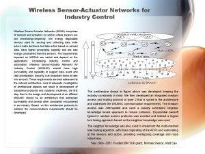 Wireless SensorActuator Networks for Industry Control Wireless SensorActuator