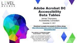Adobe Acrobat DC Accessibility Data Tables James Thompson