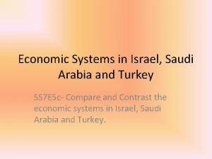 Economic Systems in Israel Saudi Arabia and Turkey