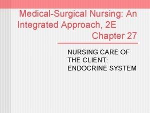 MedicalSurgical Nursing An Integrated Approach 2 E Chapter