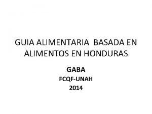GUIA ALIMENTARIA BASADA EN ALIMENTOS EN HONDURAS GABA