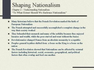 Shaping Nationalism Chapter 2 Understanding Nationalism To What