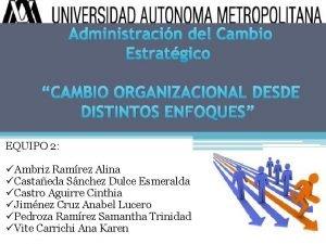 Administracin del Cambio Estratgico CAMBIO ORGANIZACIONAL DESDE DISTINTOS