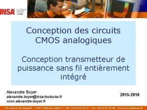 Conception des circuits CMOS analogiques Conception transmetteur de