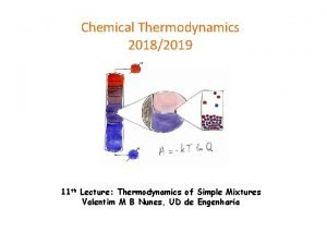 Chemical Thermodynamics 20182019 11 th Lecture Thermodynamics of
