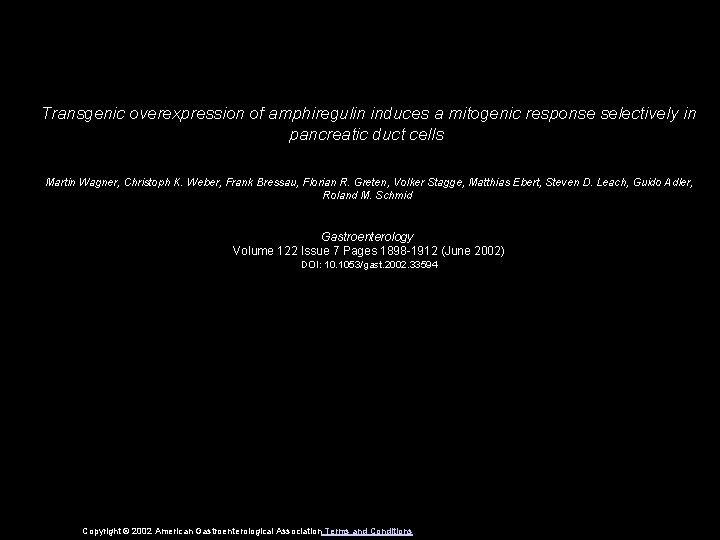 Transgenic overexpression of amphiregulin induces a mitogenic response