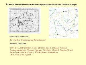 berblick ber typische astronomische Objekte und astronomische Grenordnungen
