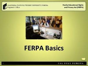 CALIFORNIA STATE POLYTECHNIC UNIVERSITY POMONA Registrars Office Family