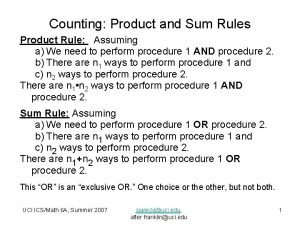 Counting Product and Sum Rules Product Rule Assuming