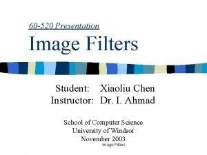 60 520 Presentation Image Filters Student Xiaoliu Chen