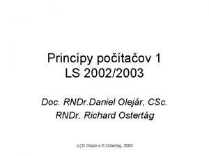 Princpy potaov 1 LS 20022003 Doc RNDr Daniel