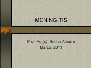 MENINGITIS Prof Adjs Betina Alberro Marzo 2011 Meningitis