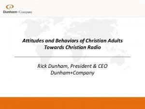 Attitudes and Behaviors of Christian Adults Towards Christian