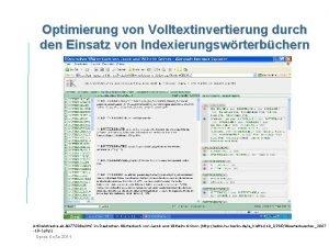 Optimierung von Volltextinvertierung durch den Einsatz von Indexierungswrterbchern