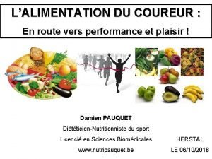 LALIMENTATION DU COUREUR En route vers performance et