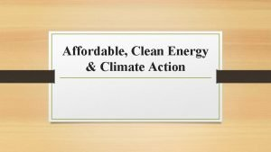 Affordable Clean Energy Climate Action Types of affordable