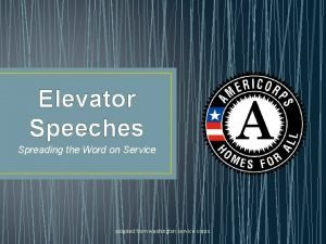 Elevator Speeches Spreading the Word on Service adapted