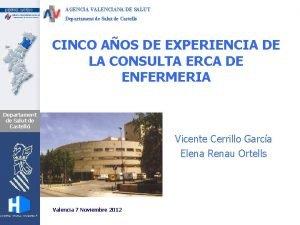 AGENCIA VALENCIANA DE SALUT Departament de Salut de