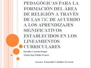 PEDAGGICAS PARA LA FORMACIN DEL REA DE RELIGIN