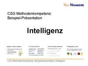 CSG Methodenkompetenz BeispielPrsentation Intelligenz CSG Methodenkompetenz Beispielprsentation Intelligenz