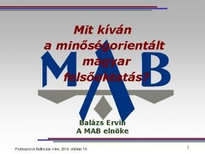 Mit kvn a minsgorientlt magyar felsoktats Balzs Ervin