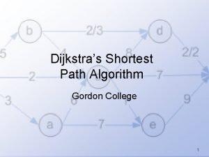 Dijkstras Shortest Path Algorithm Gordon College 1 A