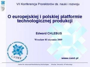 VII Konferencja Prorektorw ds nauki i rozwoju O