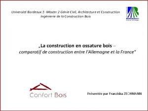 Universit Bordeaux 1 Master 2 Gnie Civil Architecture