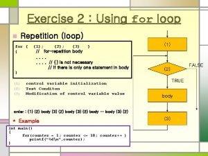 Exercise 2 Using for loop Repetition loop n