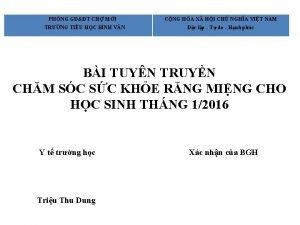 PHNG GDT CH MI TRNG TIU HC BNH