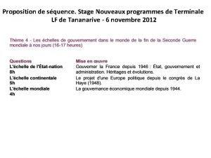 Proposition de squence Stage Nouveaux programmes de Terminale