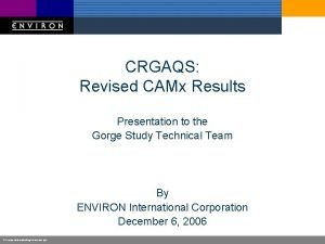 CRGAQS Revised CAMx Results Presentation to the Gorge