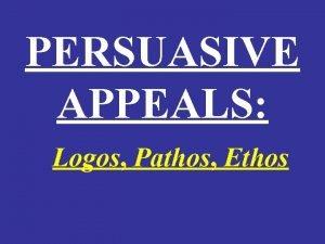 PERSUASIVE APPEALS Logos Pathos Ethos RHETORICAL STRATEGIES DESCRIPTION