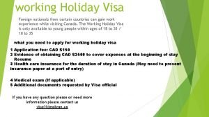 working Holiday Visa Foreign nationals from certain countries