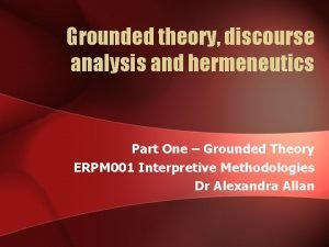Grounded theory discourse analysis and hermeneutics Part One