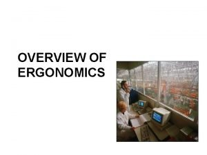 OVERVIEW OF ERGONOMICS Ergonomics definitions Study of work