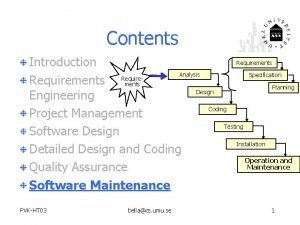Contents Requirements Introduction Analysis Specification Requirements Planning Design