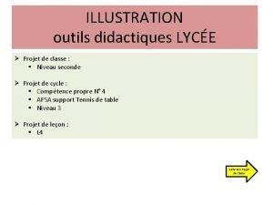 ILLUSTRATION outils didactiques LYCE Projet de classe Niveau