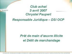 1 Club achat 3 avril 2007 Chrystel Paupert