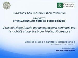 UNIVERSITA DEGLI STUDI DI NAPOLI FEDERICO II PROGETTO